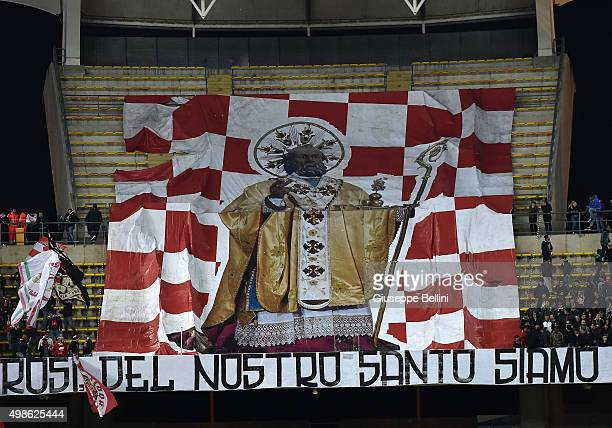 The flag in honor of St Nicholas the Patron Saint of the city of Bari held by fans of AS Bari during a tournament between FC Internazionale AC Milan...