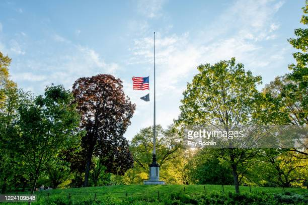 The Flag is at half mast to honor of those we have lost during the Coronavirus pandemic at Central Park in Manhattan on May 10, 2020 in New York...