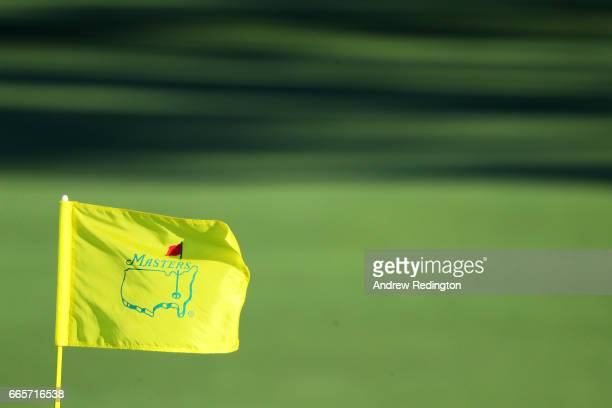 The flag is seen on the second green during the second round of the 2017 Masters Tournament at Augusta National Golf Club on April 7 2017 in Augusta...