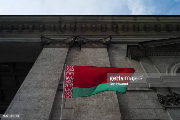 The flag of Belarus flies outside a museum on June 30 2017 in Minsk Belarus Independence Day also known as the Day of the Republic is celebrated...