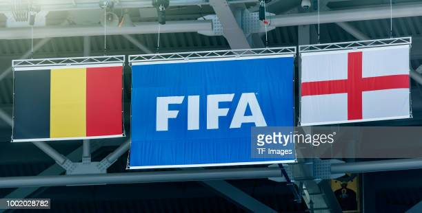 The flag of Belgium and England are seen during the 2018 FIFA World Cup Russia 3rd Place Playoff match between Belgium and England at Saint...