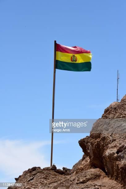 The flag of Bolivia at Isla Incahuasi