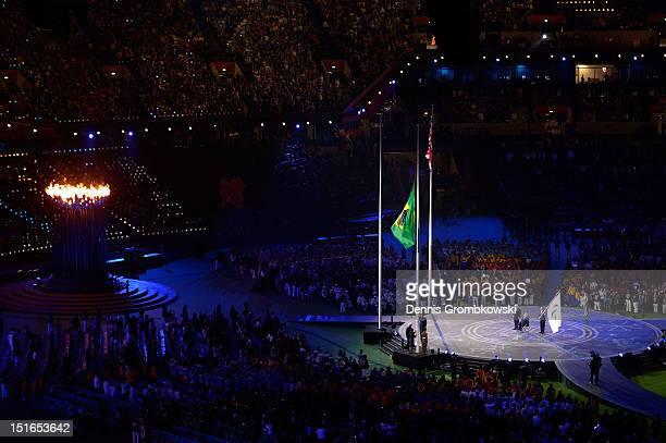 The flag of Brazil is raised as Mayor of London Boris Johnson President of the IPC Sir Philip Craven MBE and Mayor of Rio de Janeiro Eduardo Paes...
