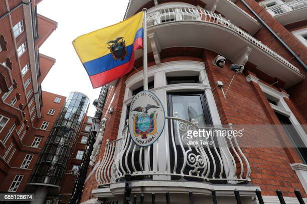 The flag of Ecuador flies in the breeze outside the Embassy Of Ecuador on May 19 2017 in London England Julian Assange founder of the Wikileaks...