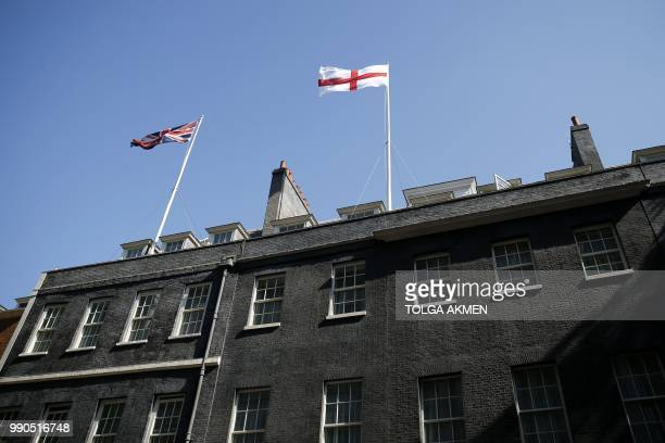 The flag of England, or the Cross of St George, flies over no 10 Downing Street in central London, on July 3 prior to the Russia 2018 World Cup round...