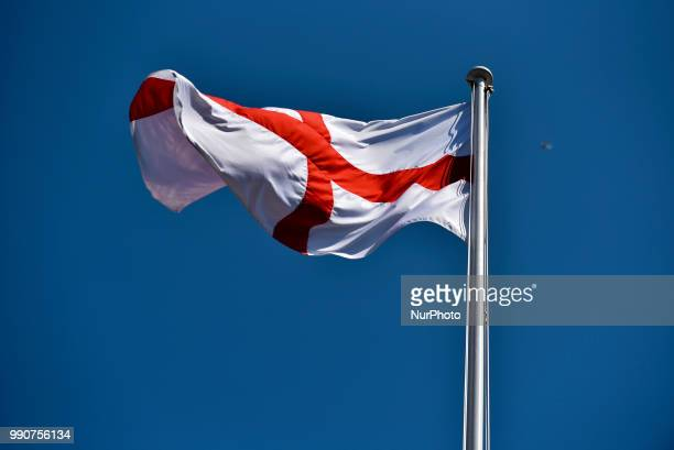 The flag of England, or the Cross of St George, flies over no 10 Downing Street in central London, on July 3, 2018. Britain's Prime Minister Theresa...