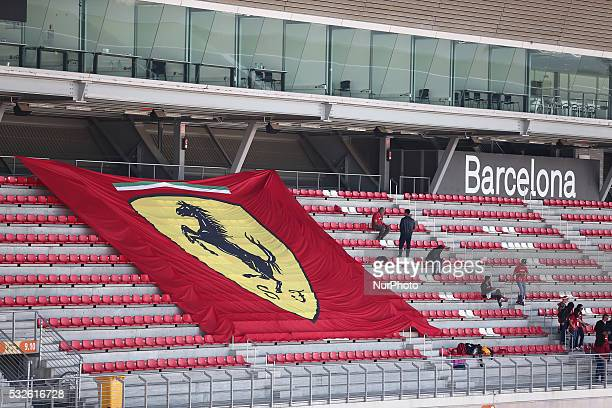 the flag of Ferrari during the second day of the Formula 1 test held in the BarcelonaCatalunya Circuit on may 18 2016Photo Jordi...