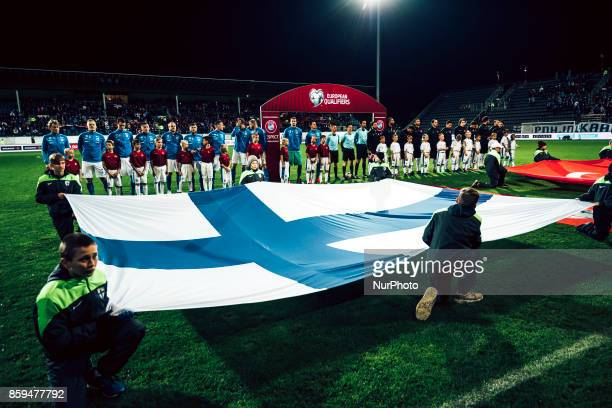 The flag of Finland during the FIFA World Cup 2018 qualification football match between Finland and Turkey in Turku Finland on October 9 2017