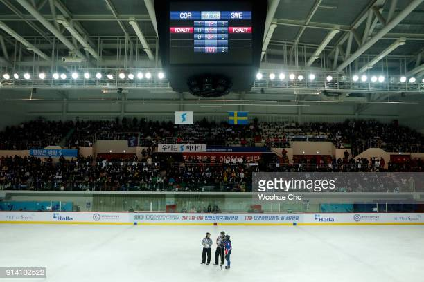 The Flag of Korean Peninsula is hanged instead South Korean national flag during the Women's Ice Hockey friendly match at Seonhak International Ice...