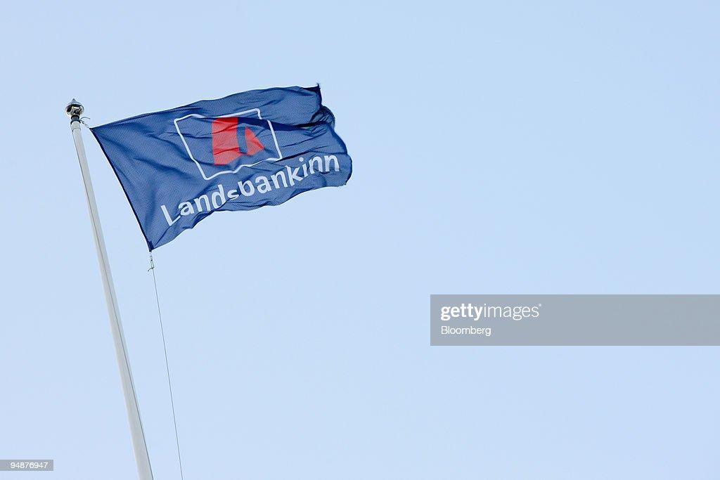 The flag of Landsbanki Islands hf is seen at their headquart : News Photo