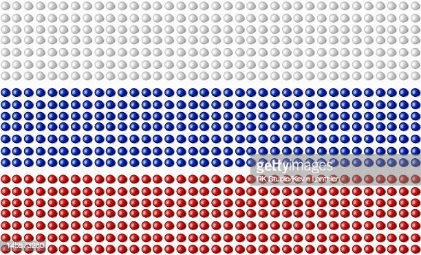 The flag of Russia, made up of pills.