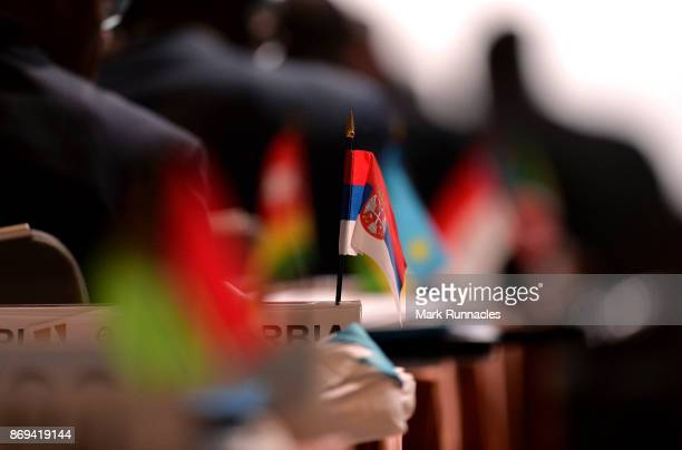The flag of Serbia pictured on Day One of the XXII ANOC General Assembly on November 2 2017 in Prague Czech Republic