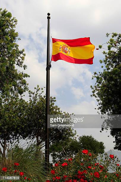 The flag of Spain flies at halfmast to commemorate the passing of golfer Seve Ballesteros as seen during a practice round prior to the start of THE...