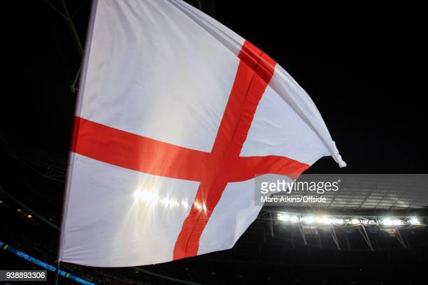 The Flag of St George flies at Wembley Stadium during the International Friendly match between England and Italy at Wembley Stadium on March 27, 2018...