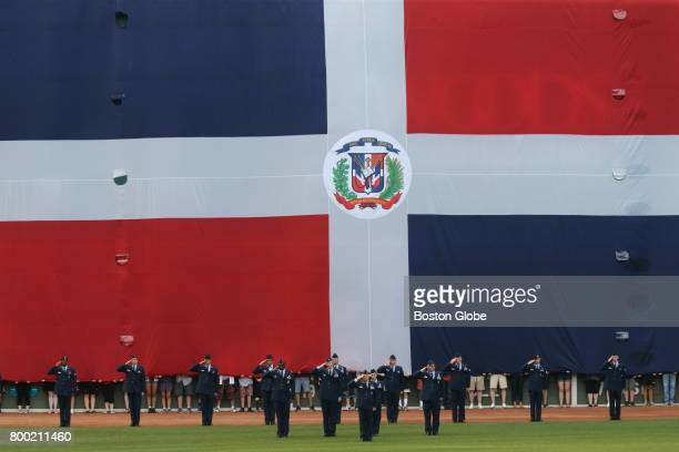 The flag of the Dominican Republic is displayed during a ceremony honoring David Ortiz at Fenway Park in Boston on June 23 2017 On Friday night the...