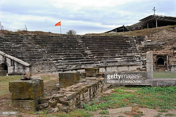 The flag of the Former Yugoslav Republic of Macedonia flies on October 3 2009 at the ancient Roman archeological site of Stobi in southeast Macedonia...