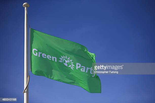 The flag of The Green Party flys during the Green Party spring conference at the Arena Convention Centre on March 6 2015 in Liverpool England During...