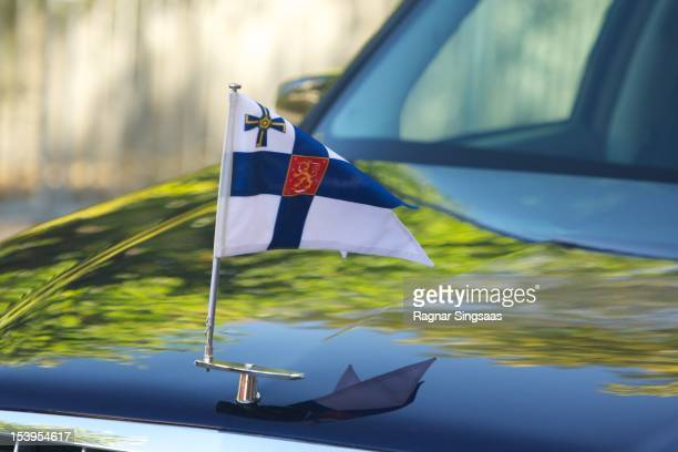 The flag of the President of the Republic of Finland is seen during the second day of the Finnish state visit on October 11 2012 in Oslo Norway