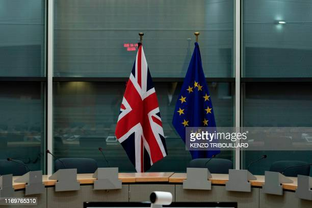 The flag of the United Kingdom and the flag of European Union are displayed prior to the meeting between UK Brexit Minister Stephen Barclay and EU...