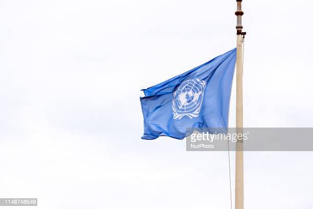 The flag of the United Nations is seen outside the International Court of Justice in the Hague, Netherlands, on 7 June 2019.