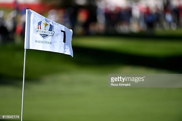 The flag on the first green blow in the wind during singles matches of the 2016 Ryder Cup at Hazeltine National Golf Club on October 2 2016 in Chaska...