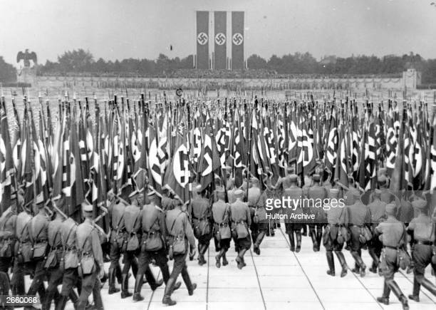 The flag parade of Hitler's militia at a Nazi Rally in the Luitpold Stadium at Nuremberg