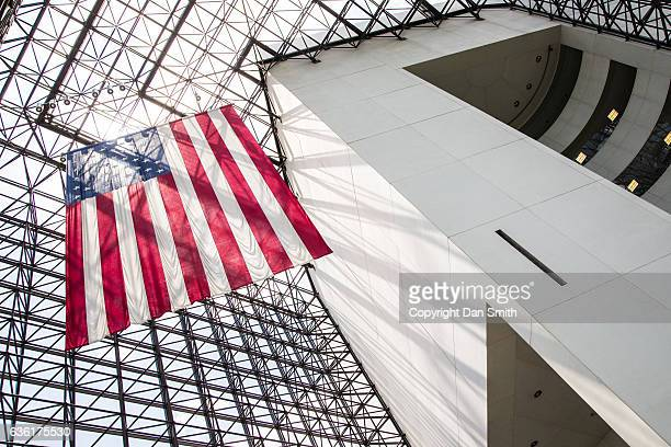 the flag - john f. kennedy library stock photos and pictures