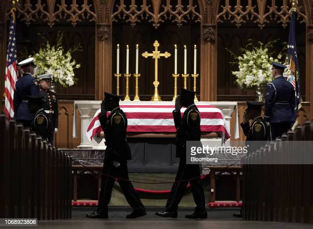 The flagdraped casket of former US President George HW Bush sits on the repose at St Martin's Episcopal Church in Houston Texas US on Wednesday Dec 5...