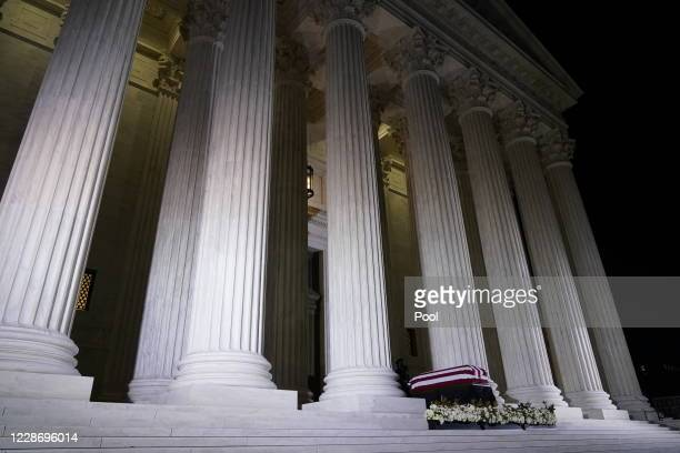 The flag-draped casket of Justice Ruth Bader Ginsburg lies in repose under the Portico at the top of the front steps of the U.S. Supreme Court...
