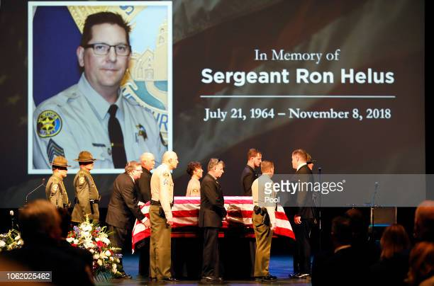 The flagdraped casket of Ventura County Sheriff Sgt Ron Helus arrives on stage for a memorial service for Sgt Helus at Calvary Community Church on...