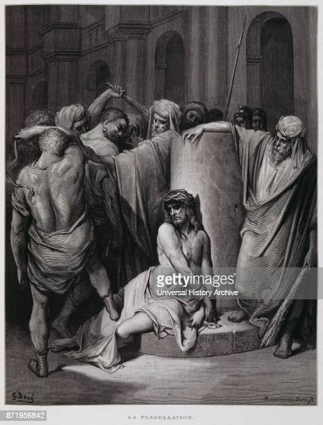 The flagellation of Christ Illustration from the Dore Bible 1866 French artist and illustrator Gustave Dor_ published a series of 241 wood engravings...