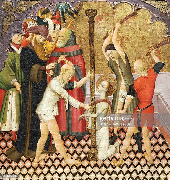 The flagellation of St Eulalia detail from the predella of an altarpiece from the Vic Cathedral by Bernat Martorell painted on wood Catalan Gothic...