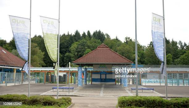 The flags at the Bud Spencer public pool hoisted at halfmast in Schwaebisch Gmuend Germany 28 June 2016 The visitors of the public pool named after...