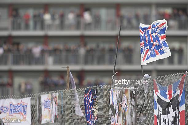 The flags in paddock during the MotoGP race during the MotoGp Of Great Britain Race at Silverstone Circuit on September 4 2016 in Northampton England