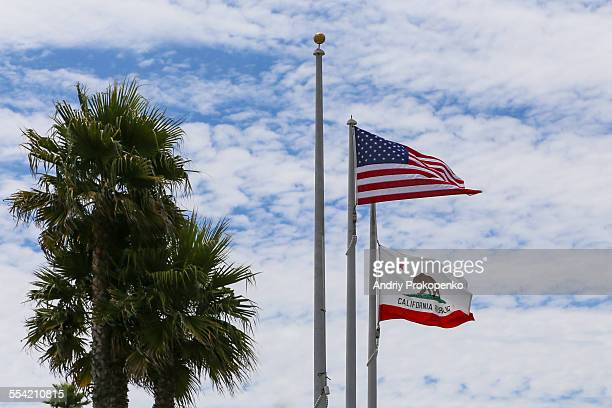 The Flags of California and USA
