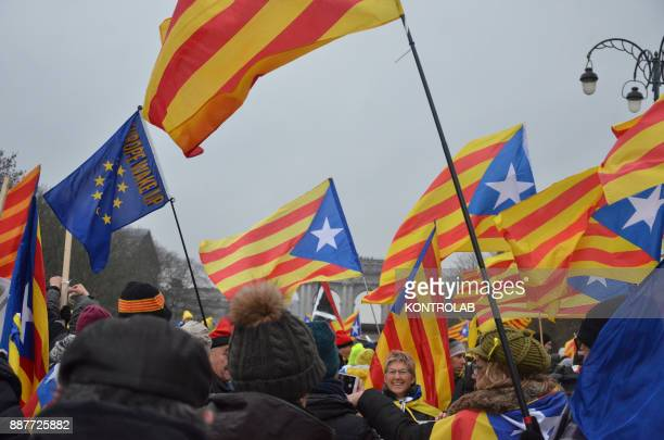 The flags of Catalan protesters during the parade in Brussels to protest against Europe by inviting Europe to 'wake up' on the Catalan question...