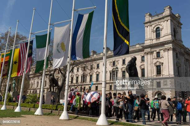 The flags of Commonwealth Nations hang in Parliament Square on the occasion of the biannual Commonwealth Heads of Government Meeting on 19th April...