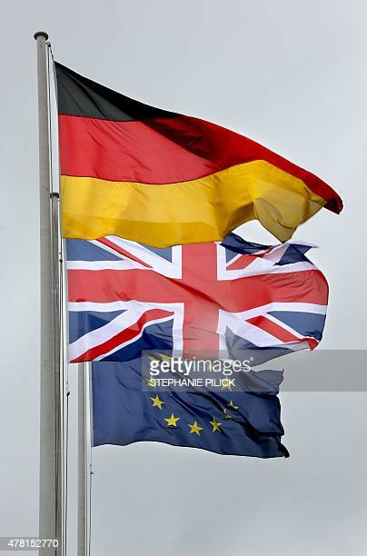 The flags of Germany Britan and Europe flutter in Berlin on June 23 2015 British Queen Elizabeth II is expected in Germany for a threeday visit On...