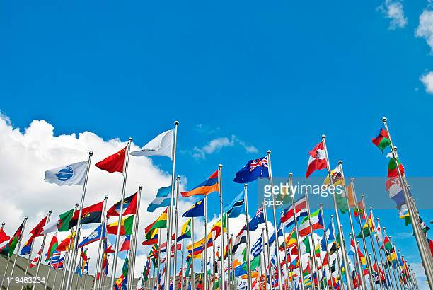 The flags of many countries on poles waving together