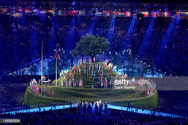 The flags of nations represented at the Olympics are displayed during the Opening Ceremony of the London 2012 Olympic Games at the Olympic Stadium on...