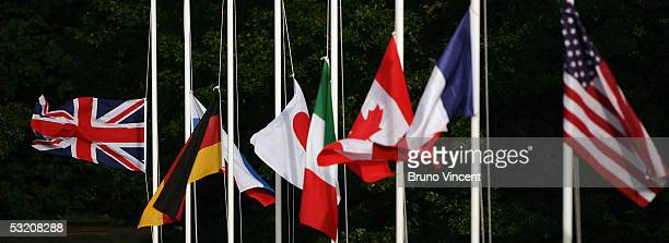 The flags of the G8 members fly at half mast in recognition of the the series of explosions in London July 7, 2005 in Auchterarder, Scotland. A...
