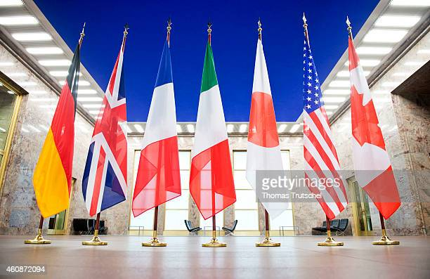 The flags of the Group of Eight G8 countries Germany France United Kingdom Italy Japan Canada USA and European Union on November 26 2014 in Berlin...