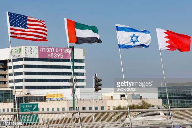 The flags of the US, the United Arab Emirates, Israel and Bahrain are flown along a road, in the resort city of Netanya in central Israel, on...