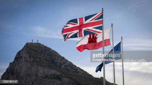 The flags of UK, Gibraltar and the European Union fly at the entrance of Gibraltar during the last day of Gibraltar as member of the European Union...