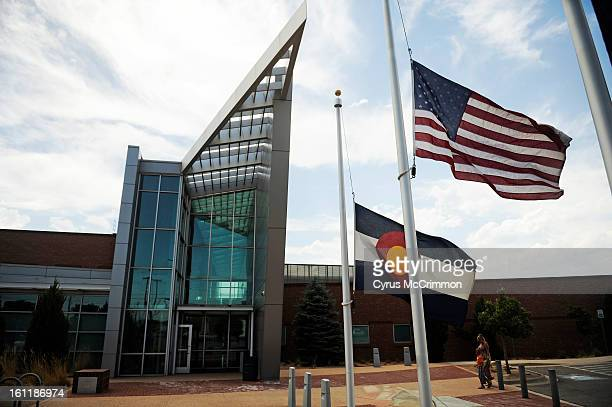 The flags were at half staff as they reflected the lost of Denver Police Officer Celena Hollis The community gathered at the Denver Police Station...