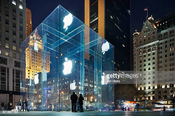 The flagship Apple Store, 'The Cube', on 5th Avenue.