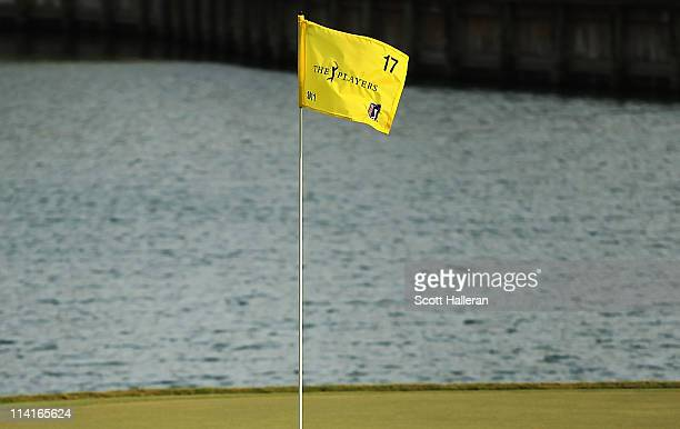The flagstick is seen on the 17th green during the second round of THE PLAYERS Championship held at THE PLAYERS Stadium course at TPC Sawgrass on May...
