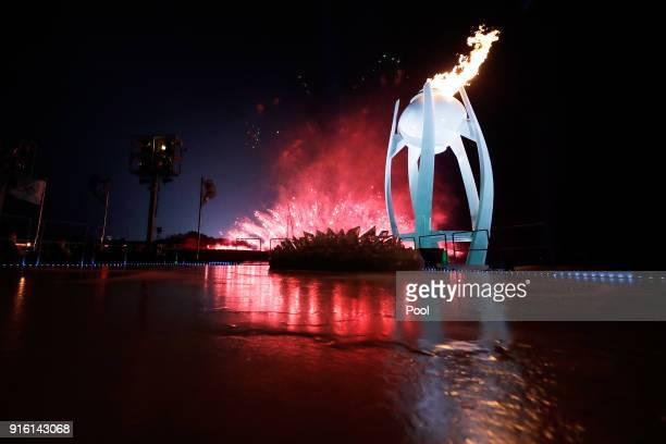 The flame burns inside the Olympic Cauldron during the Opening Ceremony of the PyeongChang 2018 Winter Olympic Games at PyeongChang Olympic Stadium...