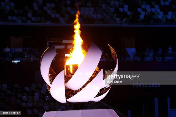 The Flame Cauldron during the Closing Ceremony of the Tokyo 2020 Olympic Games at Olympic Stadium on August 08, 2021 in Tokyo, Japan.
