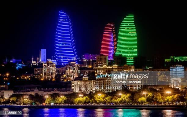 The Flame Towers a trio of skyscrapers in Baku are seen on May 13 2019 in Baku Azerbaijan